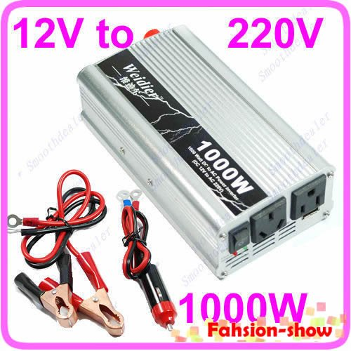 Free Shipping 1 set 1000W Car USB DC 12V to AC 220V Power Inverter Adapter(China (Mainland))