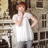 Mumuhome . spring new arrival peter pan collar gentlewomen white short-sleeve princess chiffon shirt