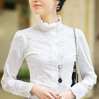 Free shipping women's 2012 spring ol slim stand collar laciness 100% cotton long-sleeve shirt white shirt female