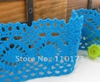 decorative trim lace,5.0CM blue colored lace trim for decorating