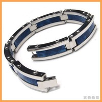 Min order $15, can mix Oceanic Blue Stainless Steel Ivory Mens Bracelet  10008102