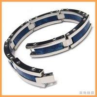 Oceanic Blue Stainless Steel Ivory Mens Bracelet  10008102