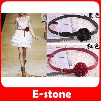 Free Shipping 5pcs/lot Hot Fashion Women Korean Slender Satin Flower Buckle Style Belt Waistband 3 Color