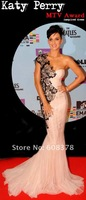 ED250 Baby pink One shoulder Mermaid tulle Katy Perry MTV Award celebrity inspired dresses Red carpet