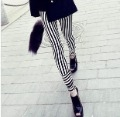 B23 white vertical stripe patchwork thin legging ankle length trousers 2012 spring 131g