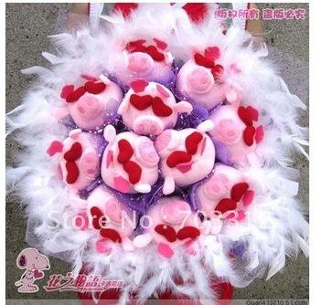 11 little pig cartoon plush childe bouquet special girl u birthday present valentine's day gift workshop