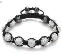 Free shipping DHL 100pcs /lot  Shamballa bracelets 10mm Clay Crystal bead Disco Ball(9pcs) Bracelet