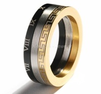 Stainless Steel Gold Roman Symbol Mens Ring Size 7-11   R022
