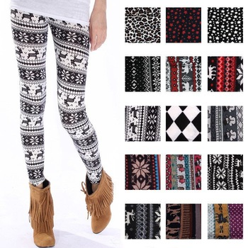 iZone 8038 autumn and winter women pattern onta doodle trousers legging casual pants