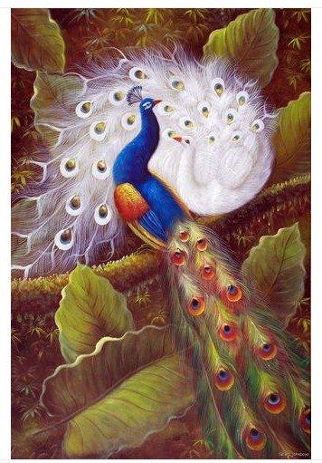 Pintura a óleo da paisagem da árvore do jardim dos pássaros dos pavões grande