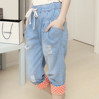 New Arrival 2012 summer denim capris women's roll up hem water wash hole trousers casual loose