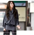 Y women's turn-down collar wide-sleeved slim hip cotton dresses one-piece dress autumn and winter