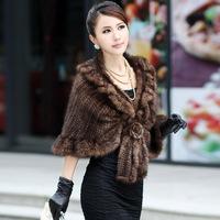 2013 Winter Women's Genuine Knitting Mink Fur Shawls Female Slim Poncho In Stock Free Shipping