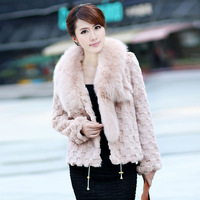 2014 Winter Women's Natural Embossed Rabbit Fur Jacket with Fox Fur Collar Female Slim Warm Coat