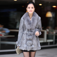 2014  Winter Women's Fashion Genuine Natural Wild Rabbit Fur Coat with Fox Fur Trimming drop shipping