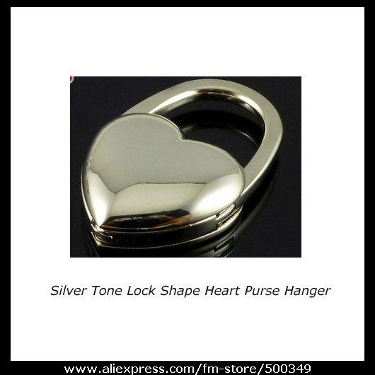 Janpenese Customize Silver Tone Heart Purse Hanger Lock Shape Handbag Bag Hook Holder(China (Mainland))