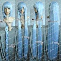 Fashion New Long Silver Blue Cosplay Straight Wig +Free wig cap