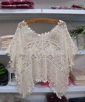 Sweet flower crotch cutout tassel decoration V-neck batwing sleeve loose knitted shirt crochet