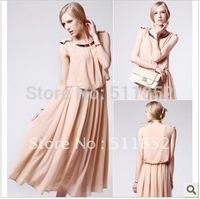 Free shipping long chiffon dress , BOHO fashion style  summer bow women's dress  ladies' dress, #510