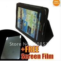 Black High Quality Leather Case For Samsung Galaxy Tab 7.7 P6800 + Screen Film
