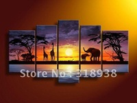 Framed/Free shipping/ Hand-painted african scenery landscape Group Oil Painting on Canvas Art  home decoration sa-502