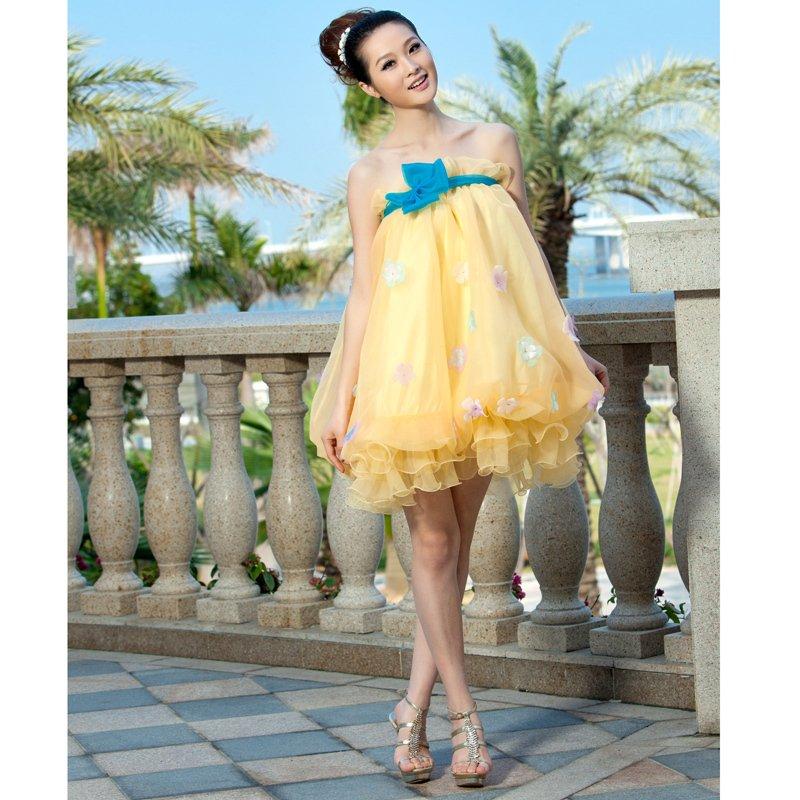 formal  uniform quality Tube top short design pompon formal dress young girl dress bridesmaid dress wedding(China (Mainland))