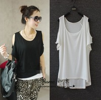 2012 summer loose strapless low-high short-sleeve t-shirt modal cotton