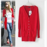 Female cardigan sweater V-neck medium-long shell sweater outerwear spring thin women's