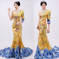 EMS Free Shipping! Robes chinese style formal dress handmade embroidery quality formal dress advanced royal