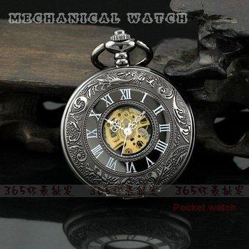 2010 New Black Classic Antique Roman Mechanial Pocket Watch P228