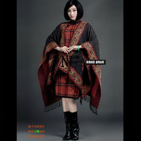 Hanfu vintage cashmere blended fabric pros and cons of dual-use tassel large cape