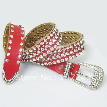 Free shipping,wholesale,10pcs/pack,Women Red rhinestone belt strap female genuine leather wide belt waist belt accessories