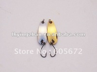Free shiping!!S-shaped iron lure metal spoons 2 colors 2.8G 2.8CM easy to use/wholsale price