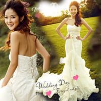 Luxury lace fish tail train princess bride tube top wedding dress evening dress Free shipping