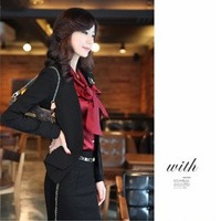 2013 New Arrival Office Lady Formal Women Suit ( Coat + Skirt )  With Corsage  Fashional Elegant Free shipping