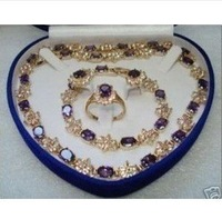 Hot Fashion Jewellery set Beautiful Purple Topaz necklace bracelet ring Sets With 14K wedding Necklace Set free shipping
