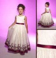 2012 wholesale Flower Gril Dresses!fashion Off-the-shoulder ankle length lace chiffon cute girls Party Dresses Communion Dresses
