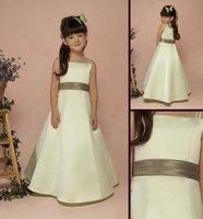 2012 hot sale Flower Gril Dresses!simple Off-the-shoulder floor length taffeta  girls Party Dresses Communion Dresses