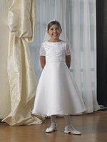2012 new style!!simple good quality Flower Gril Dresses Off-the-shoulder taffeta veil cute girls Party Dresses Communion Dresses