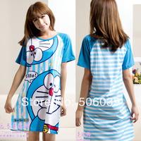 Summer 100% cotton cartoon DORAEMON short-sleeve nightgown sleepwear