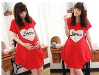 Free shipping,Newest free shipping Maternity dress/ lovely design red,gray dress for  pregnant women, pregnant woman skirt RYA64