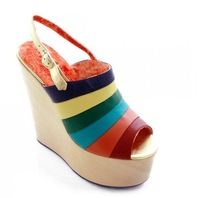 2012 Leather sheepskin super high heels Platform sandals Wedges sandal shoes HH025 FREE SHIPPING