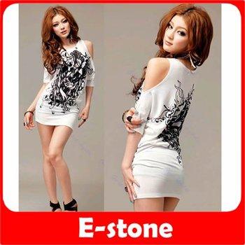 D19+Free Shipping 3pcs/lot Women Sexy Cotton Casual Off Shoulder Long Flowers Printing T-shirt Mini Dress