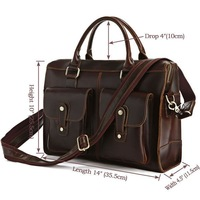 Free Shipping 100% Genuine Crazy Horse Leather Men's Dark Brown Briefcase Laptop Bag Messenger FREE SHIP #7096R