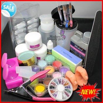 Free Shipping Full Set UV GEL Pro Full Acrylic Liquid French Nail Art Tip Kit Set #1643, No. HB-NailArt01-1643set