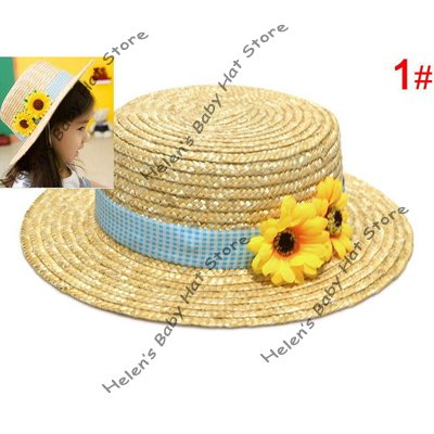 Two Sunflowers Girl's Straw Hat Kids Straw Sun Cap Baby Summer Cap Toddler Summer Topee Sun Visor 10pcs/lot freeshipping MZ-0489(China (Mainland))
