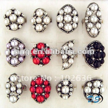 Free shipping!Wholesale lots Fashion Antique silver bead pearl Rings
