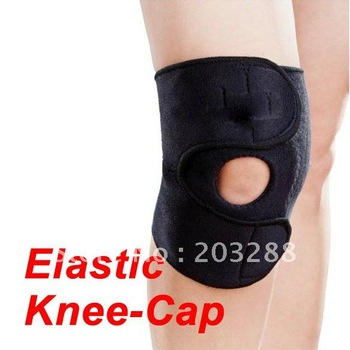 Outdoor Travel Sports Adjustable Velcro Knee Support Wrap Patella Strap Black