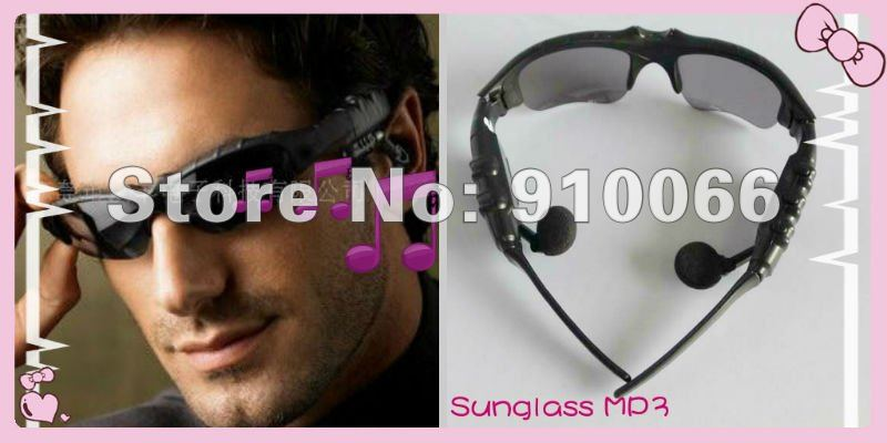 Free shipping New Black 2GB Headset Sunglass Mp3 Player enjoy music in the sun protect your eyes(China (Mainland))