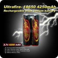2PCs/lot Superior Storage Capacity Ultrafire Lithium Li-ion 3.7v 4250mAh 18650 PCB Protected  Rechargable Battery,Free shipping